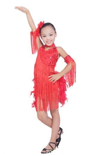 DB23553 fringe feather sequin latin dance dress-7