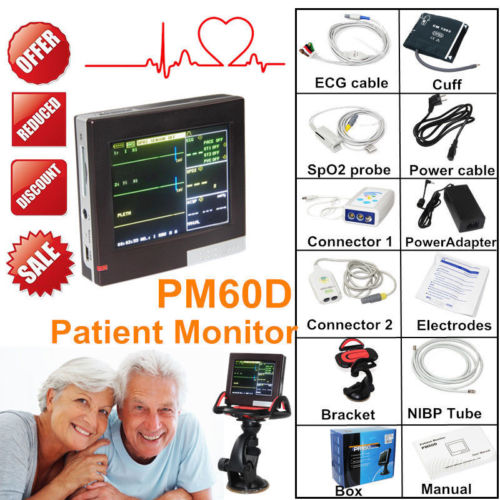 CONTEC PM60D ICU Patient Monitor Vital Signs Monitor ECG NIBP SPO2 PR 4 Parameters SD Card Touch Screen Handheld replacement for vital signs monitor medical twslb 008 hylb 1049 m3 ecg machines battery