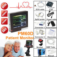 CONTEC PM60D ICU Patient Monitor Vital Signs Monitor ECG NIBP SPO2 PR 4 Parameters SD Card Touch Screen Handheld