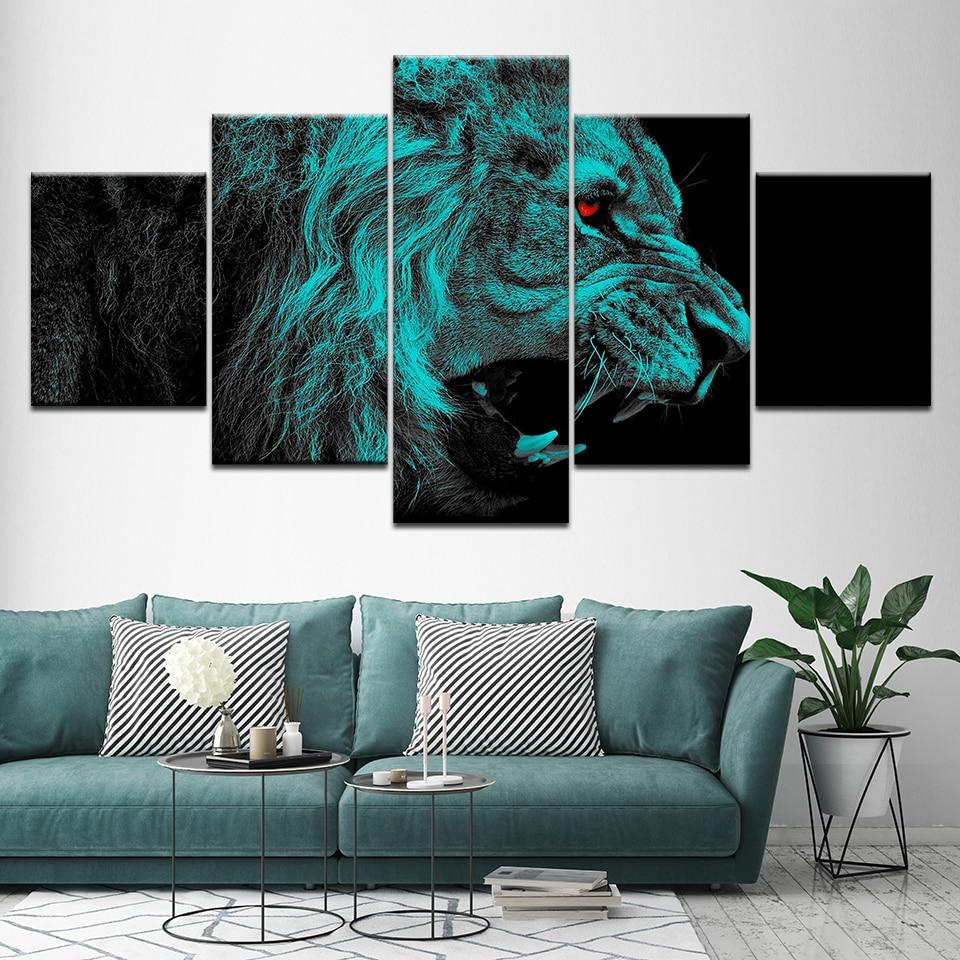 Roaring Lions Canvas Art Poster Print home Wall Decor