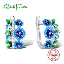 SANTUZZA Silver Flower Earrings For Women 925 Sterling Silver Earrings Silver 925 Cubic Zirconia brincos Jewelry Enamel