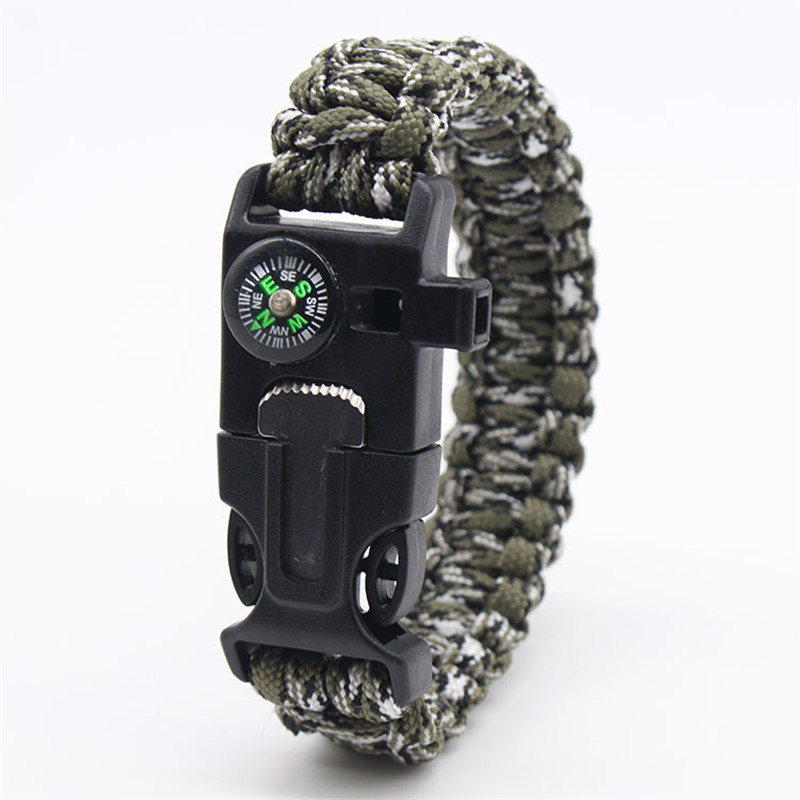 Outdoor Emergency Paracord Survival Bracelet Without Flint Outdoor Scraper Whistle  Jungle Camo Parachute Rescue Cord For Men