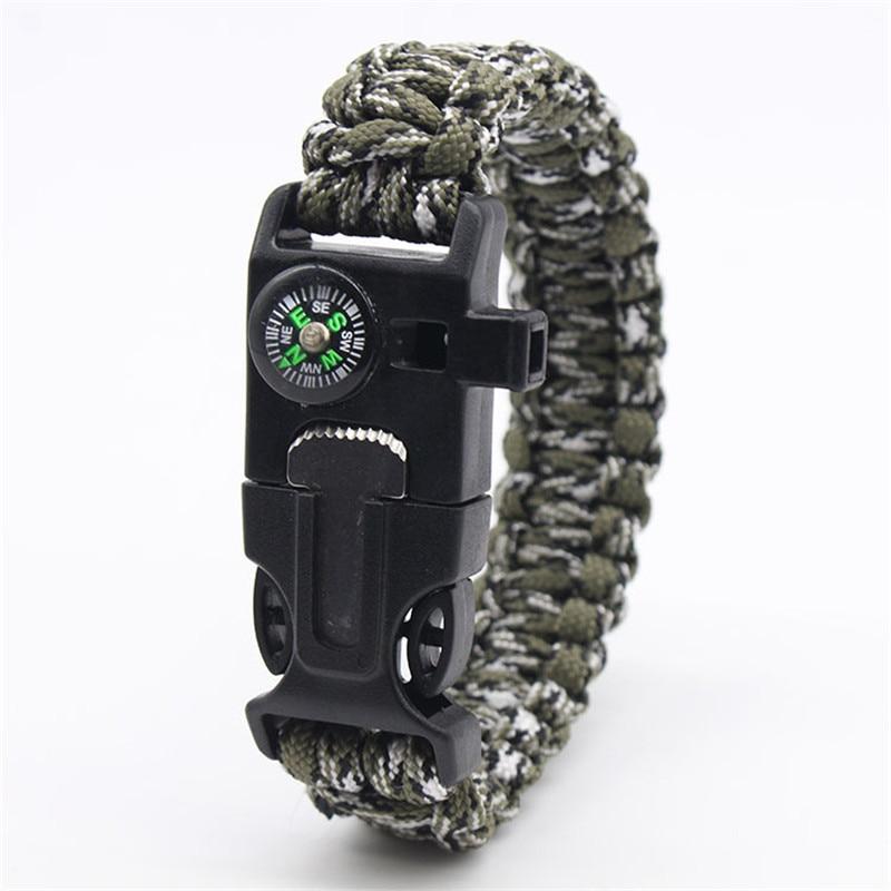 Outdoor Emergency Paracord Survival Bracelet Without Flint Outdoor Scraper Whistle  Jungle Camo Parachute Rescue Cord For Men