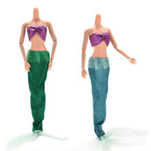 2 Pcs/set Fashion Handmade Party Suits Dresses for Ariel Princess For for Barbies Mermaid Dolls with Tail(China)