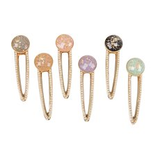 Fashion Women gold Vintage Oval Acrylic Hair Clips Barrette Hairpins Hair Accessories(China)