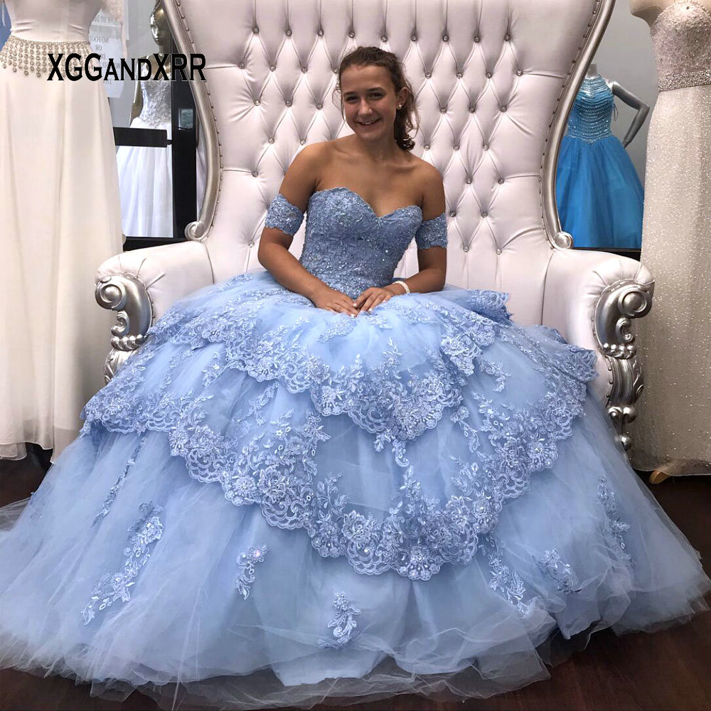 Blue Ball Gown Quinceanera Dresses 2019 Detachable Sleeves Sweet 16 Dresses Tiered Skirt Beading Lace Edged