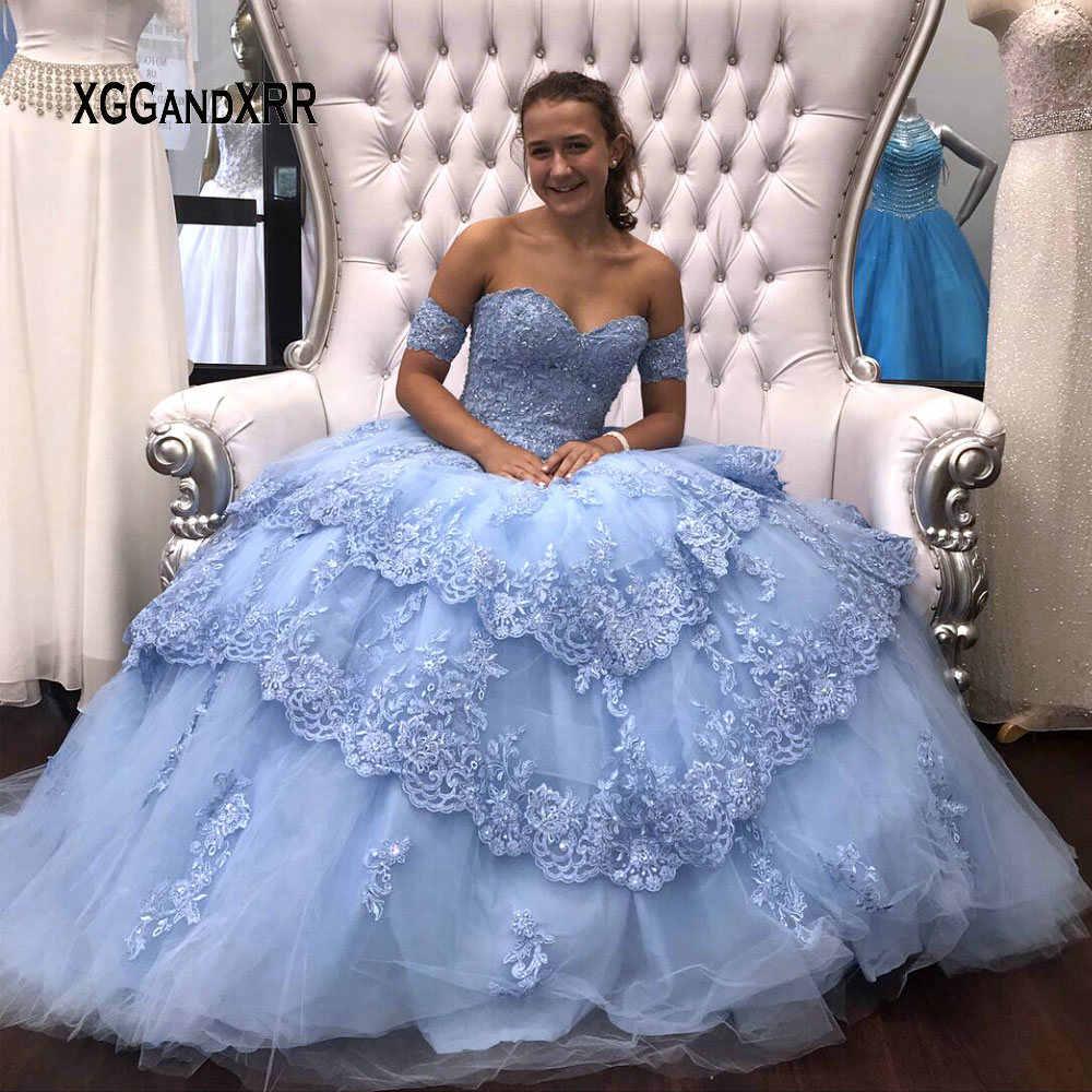 680376bad919f Blue Ball Gown Quinceanera Dresses 2019 Detachable Sleeves Sweet 16 Dresses  Tiered Skirt Beading Lace Edged Vestidos de 15 Puffy