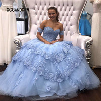 Blue Ball Gown Quinceanera Dresses 2019 Detachable Sleeves Sweet 16 Dresses Tiered Skirt Beading Lace Edged Vestidos de 15 Puffy