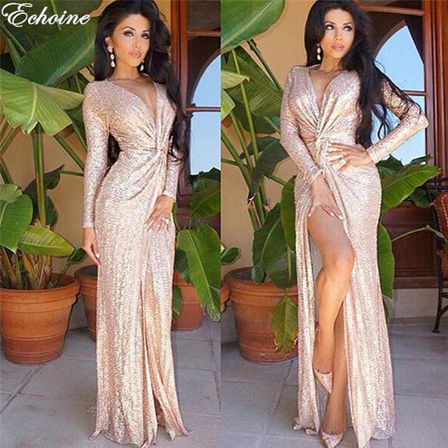 Echoine Women Rose Gold Sequin Dress Shiny Party Dresses Gown Y Maxi Long Sleeve High Quality