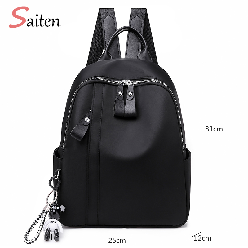 New Waterproof Nylon Women Backpack Zipper School Bags For Teenagers Girls Small Pendant Backpack Female Multifunction Rucksack