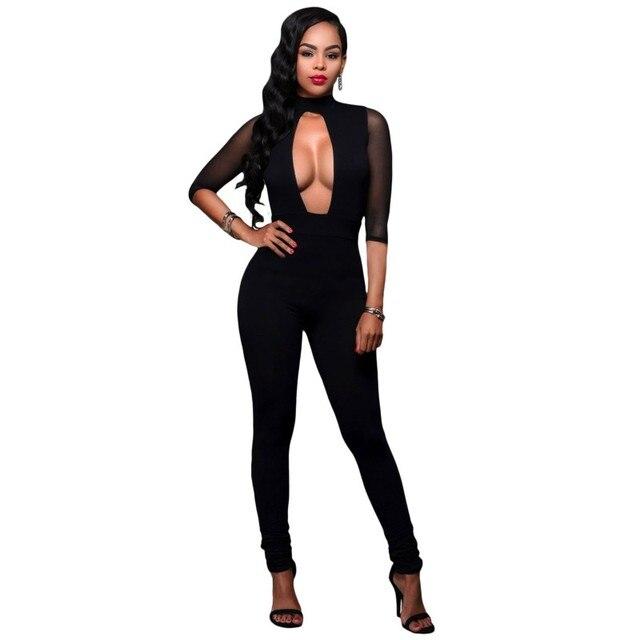 Key-hole mesh accent сексуальные черные комбинезоны для женщин bodycon комбинезон ползунки клубная одежда 2017 осень горячие продавцы набор A64226