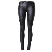 2017 Spring Sexy Women Pu Leather Black Pants Zipper Stretch Bodycon Pleated Patchwork Plus Size Women Pencil Long Pants