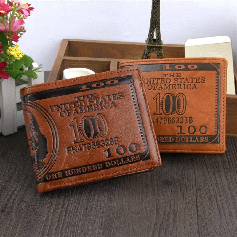 NEW Dollar Leather Men Money Clip Wallet Male Bifold Purses Casual Style Slim Wallet Multi Pockets Purse For Men Wholesale