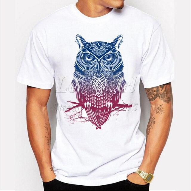 Mới nhất 2018 của men thời trang ngắn tay áo đêm chiến binh owl printed-shirts vui tee áo sơ mi Hipster O-Cổ popular tops