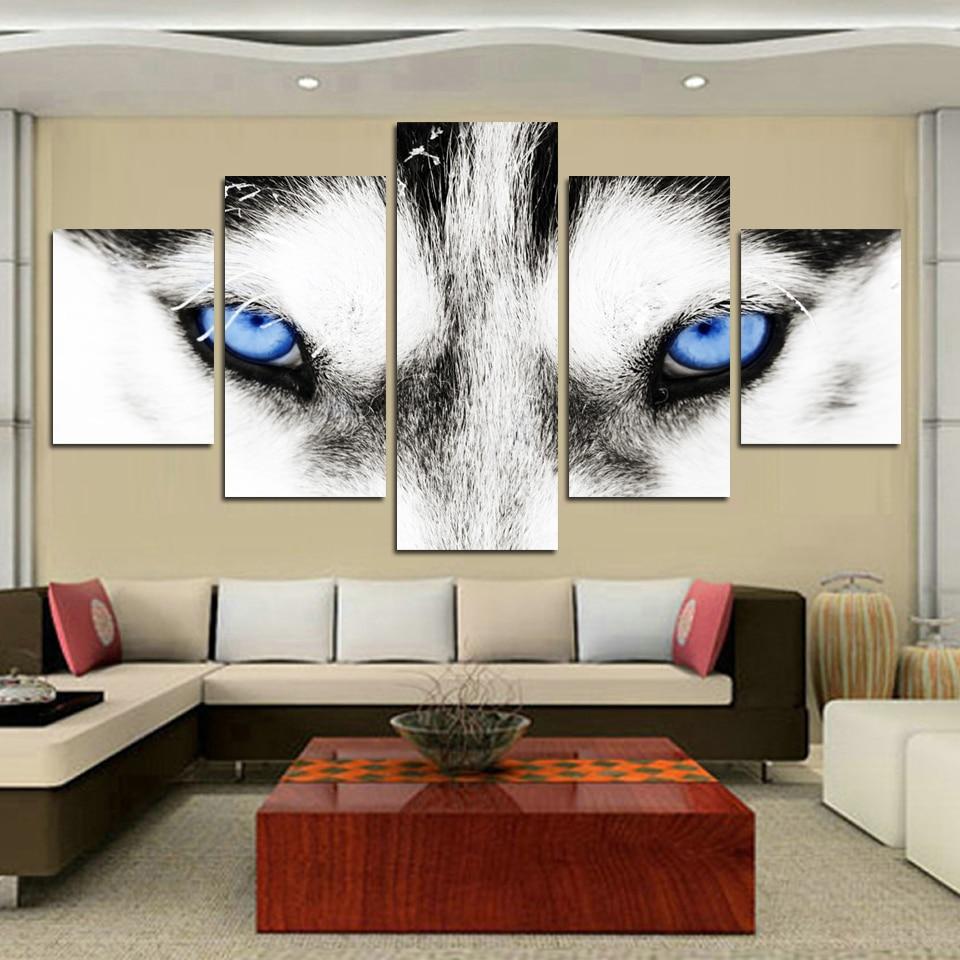 Modern HD Painting Wall Art Modular Poster 5 Panel Animal Wolf Printed Canvas Living Room