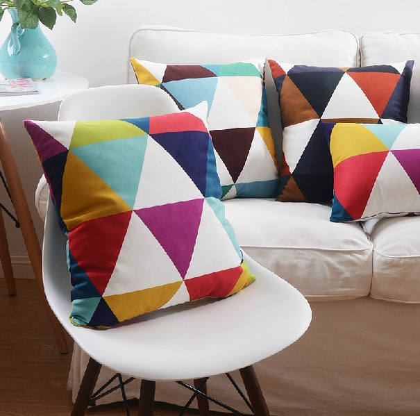 "18"" Colorful Geometric Grid Micro Suede Cushion Cover Ikea Sofa"