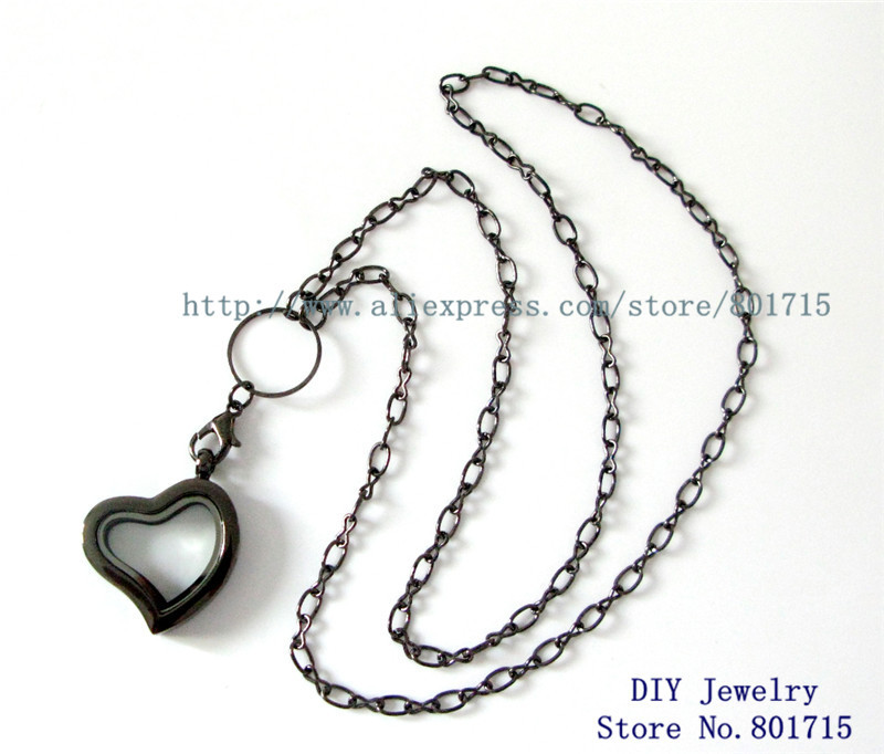 cheap price1pcs heart floating locket living charms locket necklace chain about 60cm length Other part about 3cm length