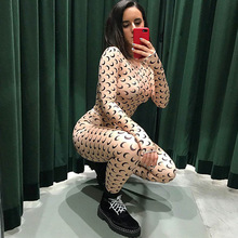 Sexy Crescent Moon Print Skinny Jumpsuit Thin Spring Women Bottoming Elastic Soft Casual Streetwear Hipster Fitness Jumpsuits