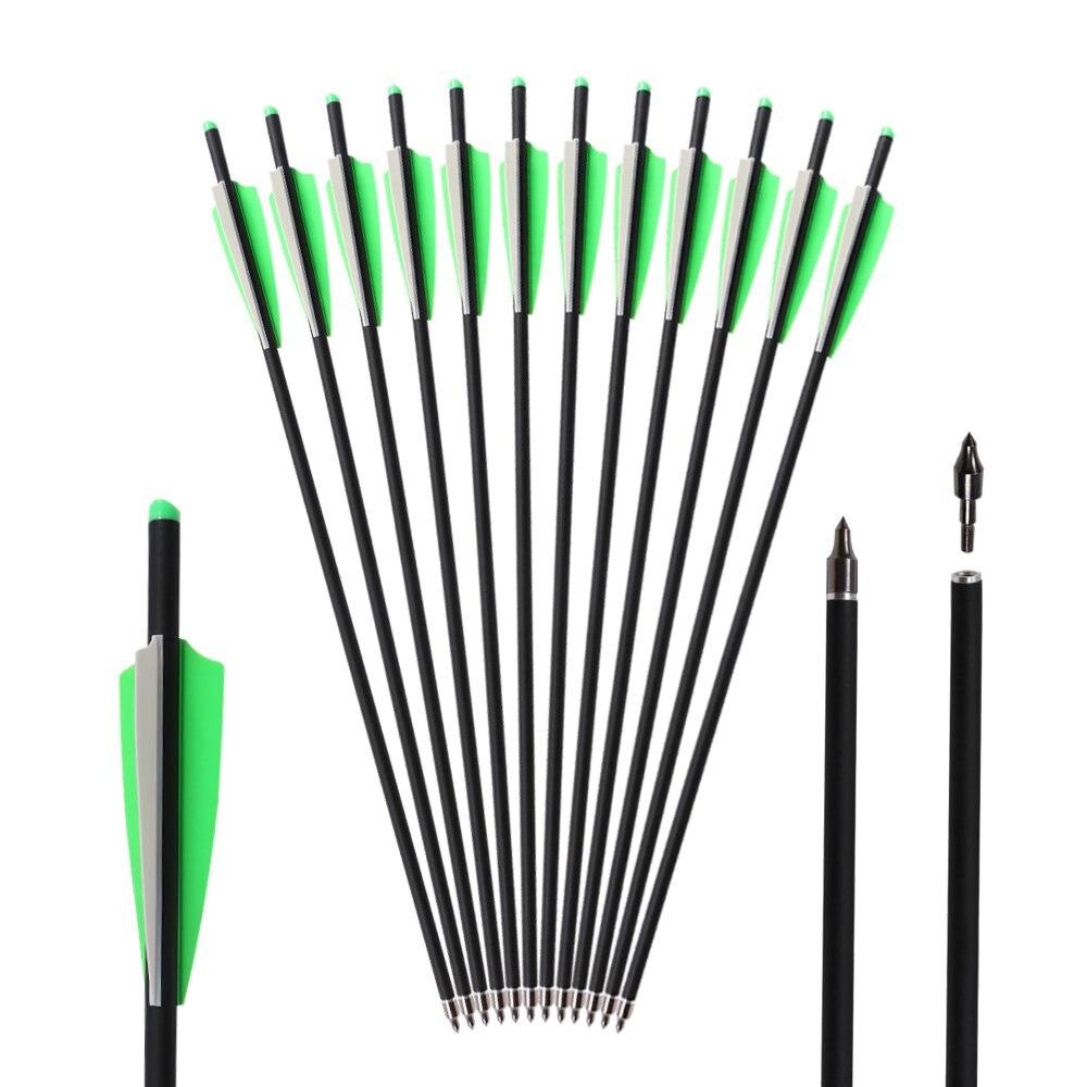 Hunting Archery Carbon Arrow 20 / 22 Inch Crossbow Bolts Arrow With 4