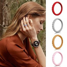 Silicone Wedding Ring for Women Thin Stackable Braided Rubber Bands Durable Fashion Rings