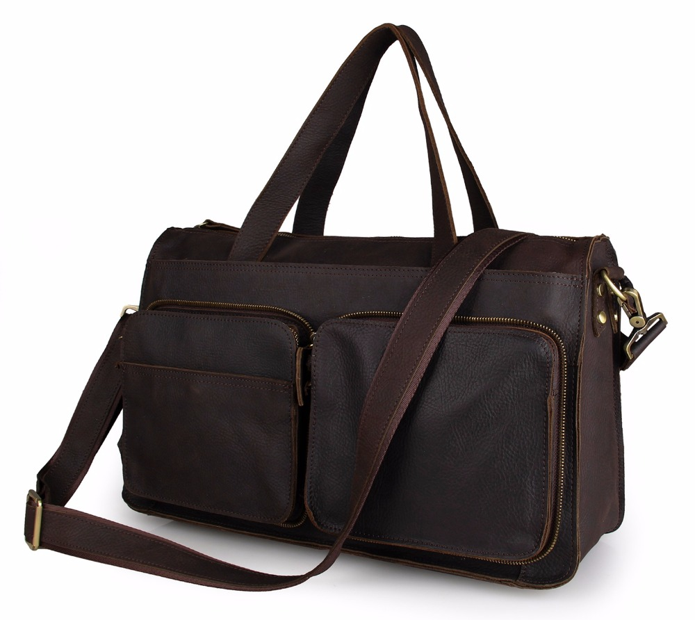 Augus Genuine Leather Large Capacity Travel Bag Classic Travel Totes Casual Travelling Duffel Bag For Unisex 7138R / 7138C/7138Q