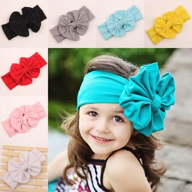 2017 newborn child girl big Cotton fabric elastic for hair bows head bands  wraps turban headband headbands accessories ML-6 1898db73834
