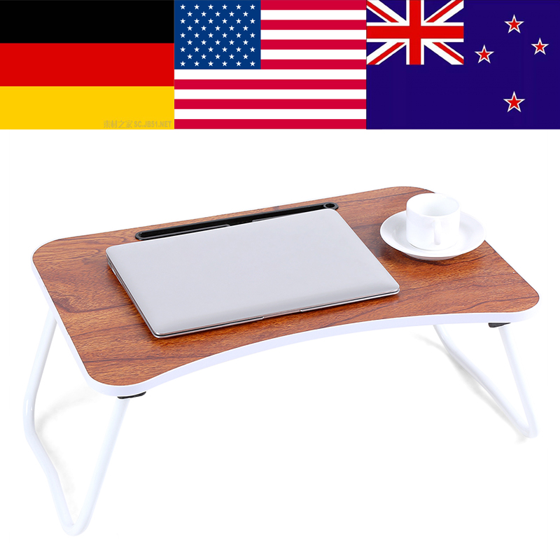 Computer Desk Portable Adjustable Foldable Laptop Notebook Lap PC Folding Desk Table Vented Stand Bed Tray laptop stand wood(China)