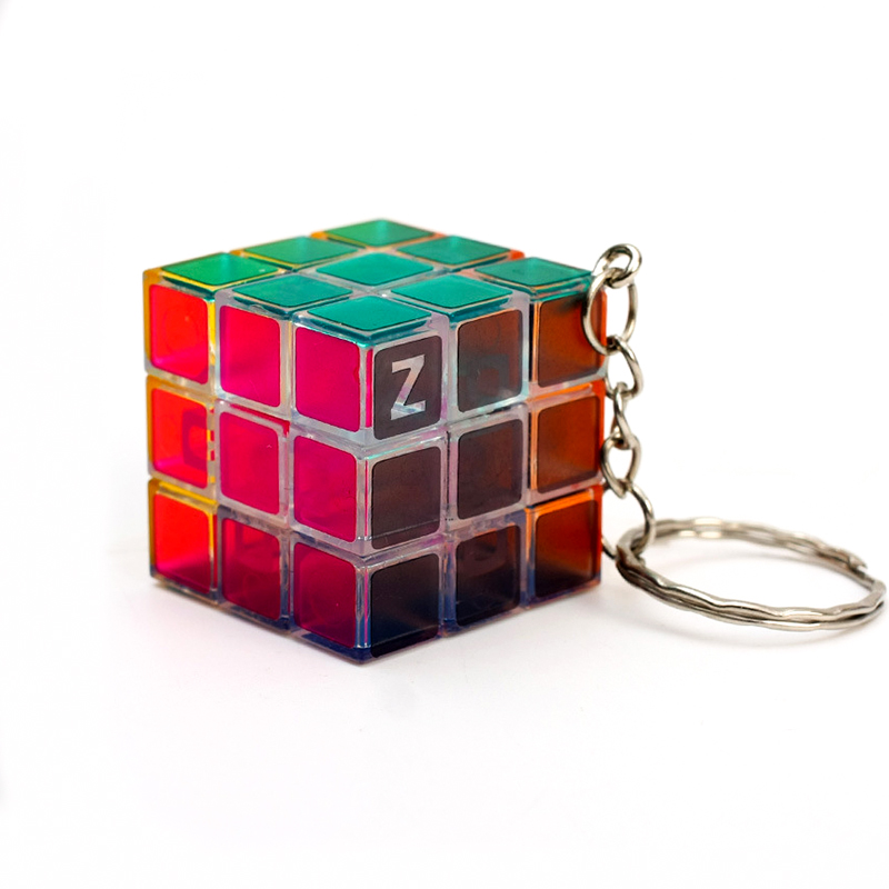 3x3x3 Mini Magic Cube Key Ring Brain Teaser Puzzle Toy Key Chain Transparent Colorful Stress Speed Magnetic Neo Cube Magic Toy