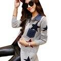 2016 Mulheres longo Md-Cardigans Camisola de Malha Estrela de Cinco pontas-Padrão Bolso Solto Jeans Emenda Turn-Down Outwear QH212