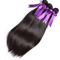 RUIYU Human Hair 3 Bundles Straight Peruvian Hair Weave Bundles Natural Color Hair Extensions Non Remy