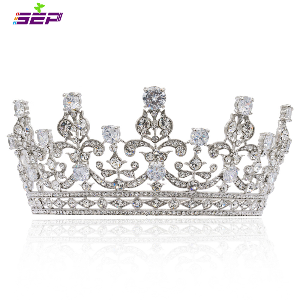 New Crystals Rhinestone Big Wedding Bride Tiara Crown Women Hair Jewelry Accessories with CZ 17363R wall hanging shelf metal
