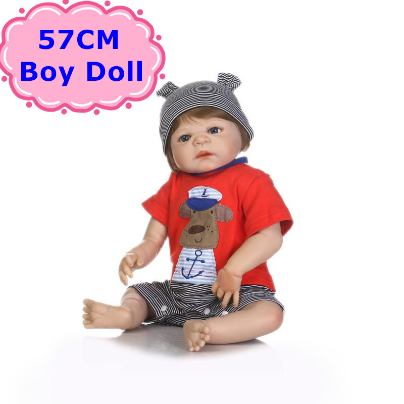 New Arrival NPK 57cm Handmade Full Body Silicone Baby Doll Lifelike Reborn Baby Boy In Red Clothes For Kids Girls Birthday Gift new arrival electric body for stra tocaster in flash black