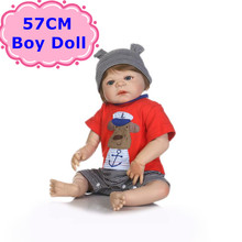 New Arrival NPK 57cm Handmade Full Body Silicone Baby Doll Lifelike Reborn Baby Boy In Red Clothes For Kids Girls Birthday Gift