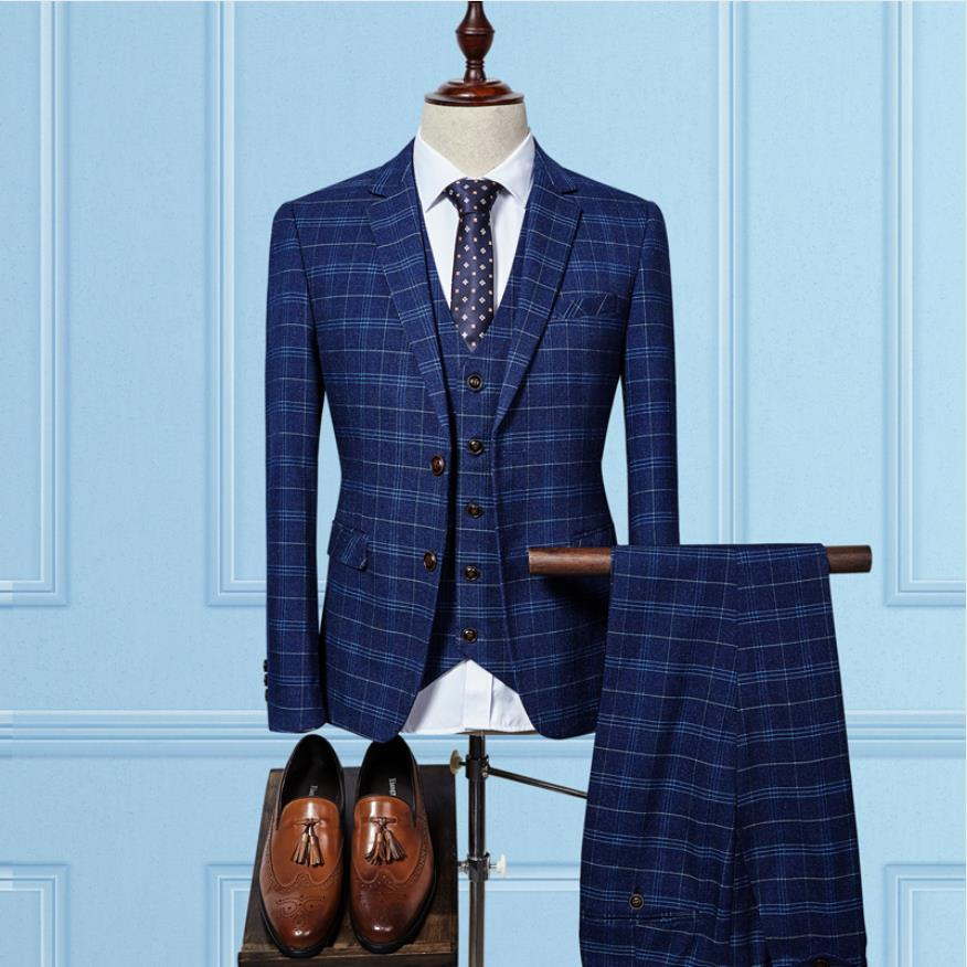 (Jacket+Vest+Pants) 2019 Grid Men Custom Blazer Fashion Wool Men's Slim Fit Business Wedding Suit Men Costume Homme Trajes De