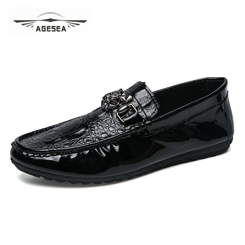 2018 New Men Leather Shoes Handmade Moccasins Leather Men Loafers Design Superstar Slip on Comfort Peas Shoes Men Flats AYG711 new fashion gold snakeskin pattern loafers men handmade slip on leather shoes big sizes men s party and prom shoes casual flats