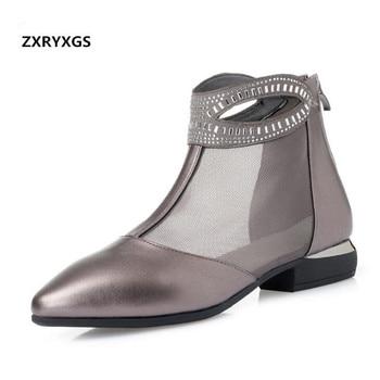 31268d569 2019 Famosos Novos Apontado Strass Elegante Moda Sandálias Calçados  Femininos Botas Legais Conforto Low-salto Das Sandálias Das Mulheres  sandálias de Verão