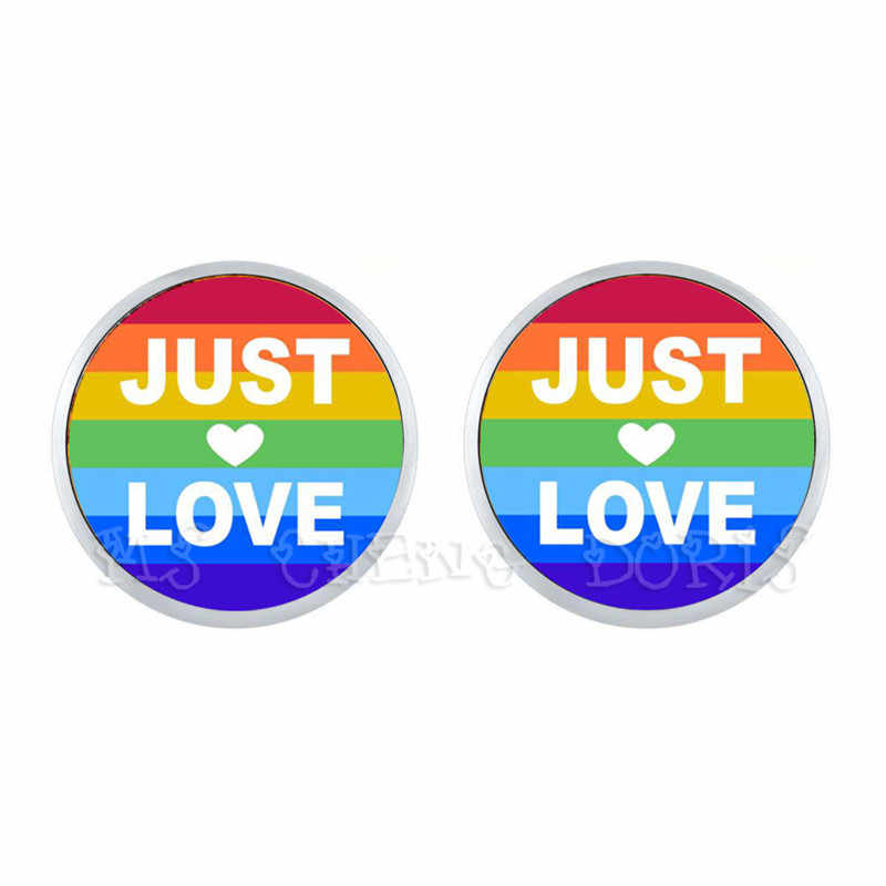 Just Love Rainbow Hypoallergenic Ear Nail For Women Men Gay Lesbian Pride With Rainbow Love Wins LGBT Glass Dome Stud Earrings