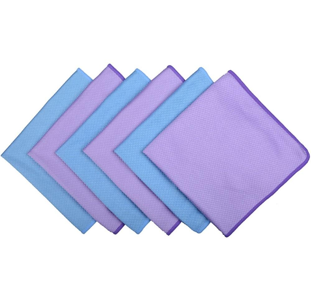 6 pièces 30 cm x 40 cm microfibre polissage serviette de nettoyage verre acier inoxydable chiffon de nettoyage fenêtre pare-brise tissu