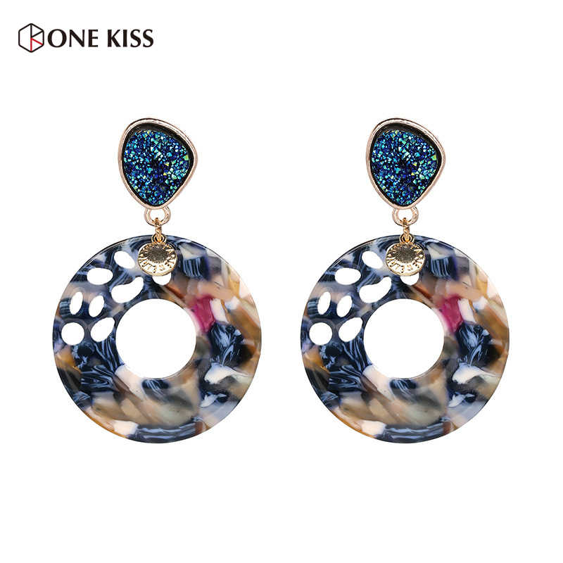 New Trendy Multi Color Resin Big Round Acrylic Dangle Drop Earrings for Women Colorful Geometry Statement Earrings ZA Jewelry