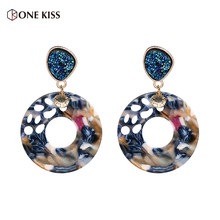 New Trendy Multi Color Resin Big Round Acrylic Dangle Drop Earrings for Women Colorful Geometry Statement Earrings ZA Jewelry(China)