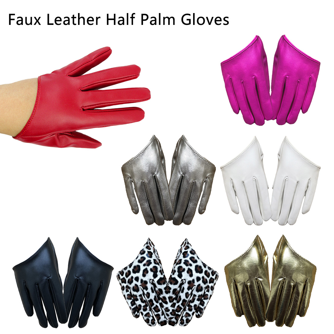 Women Gothic Punk Rock Show Half Palm Fashion Sexy Female Night Club Pole Dancing Leather Gloves  Full Finger Fitness Gloves
