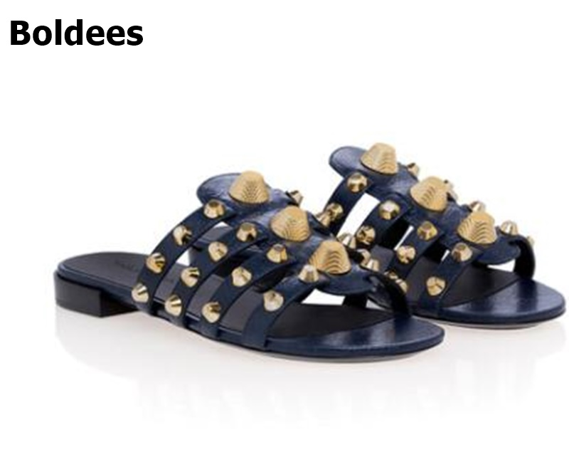2018 Summer Hot Flat Sandals Silver Rivets Leather Straps Ladies Cut Out Sandals Slip On Women Fashion Slipper Free Shipping fashion blue rabbit fur women open toe sandals thicken buckles ladies cut out flat sandals summer slip on sandals