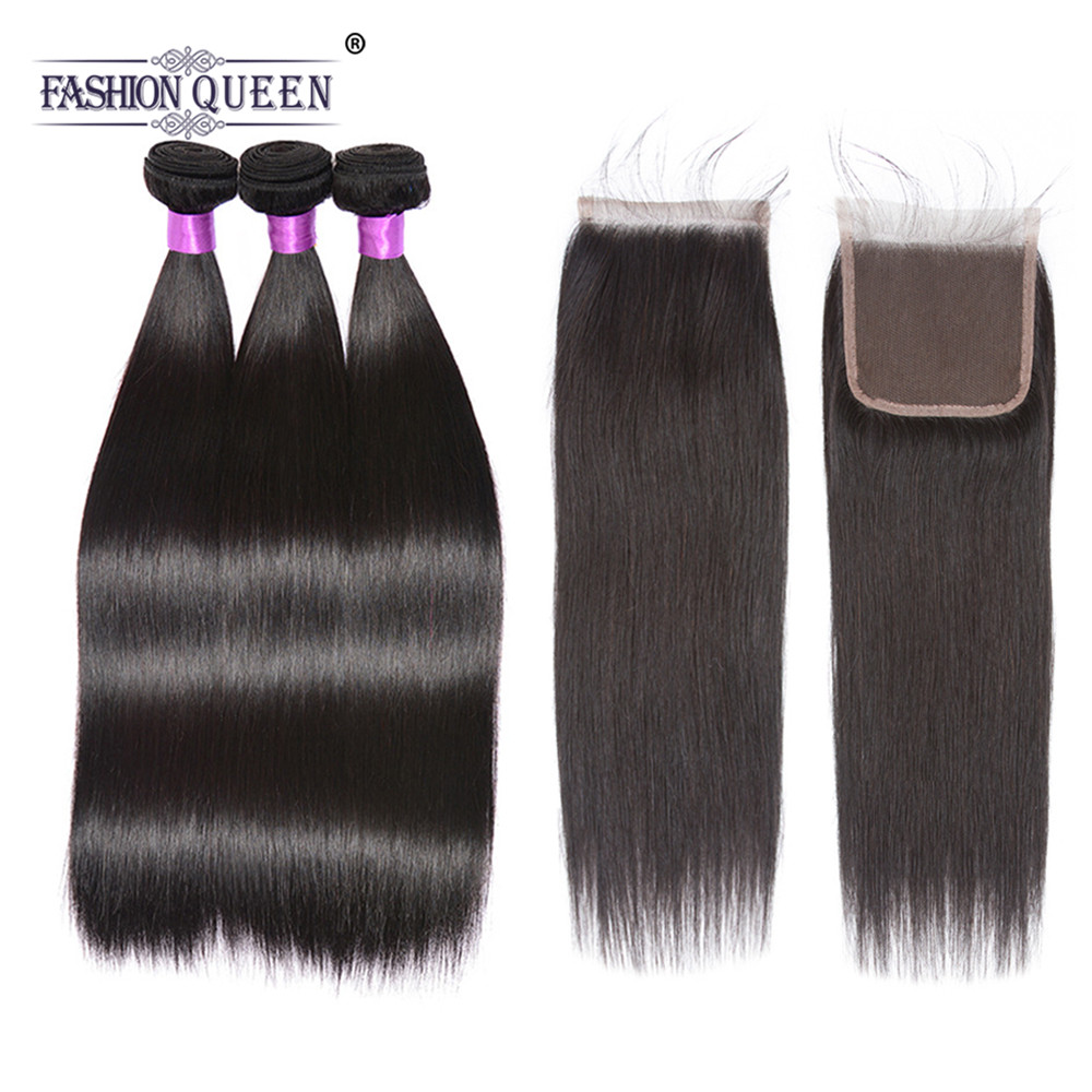 Straight Hair 3 Bundles With Closure Natural Color Brazilian Hair Bundles With Closure Remy Human Hair Bundles Lace Closure