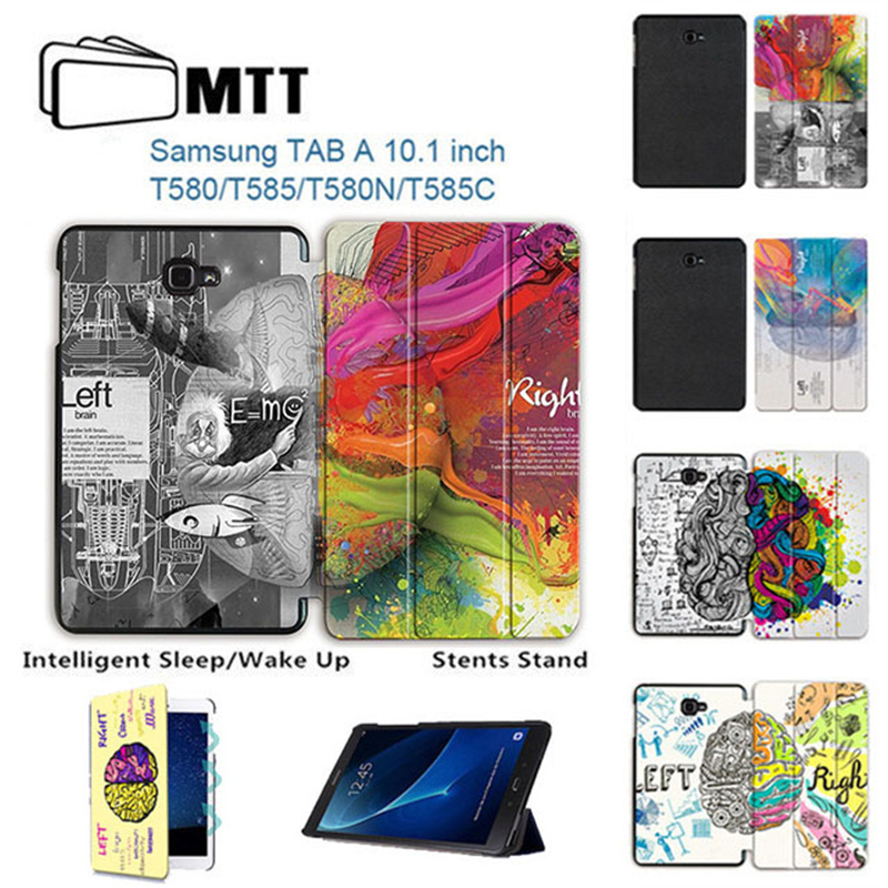 MTT Printing Left Right Brain Skin Smart Flip pu Leather Cover For Samsung Galaxy Tab A A6 10.1 2016 T585 T580 T580N Tablet case цена 2017
