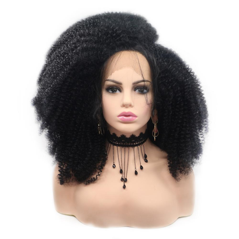 Afro Kinky Curly Wigs Jet Black Short Synthetic Lace Front Wig For African American Women You May Natural Hair Wigs