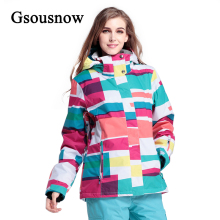 Factory Wholesale Gsousnow Women Ski Jacket Winter Snowboard Sports Outdoor Snow Wear Windproof Waterproof Polyester Female Coat