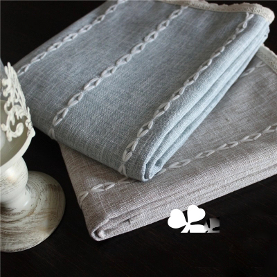 Solid thick cotton striped fabric modern minimalist dining table desk cover towel tablecloth green wallpaper yield