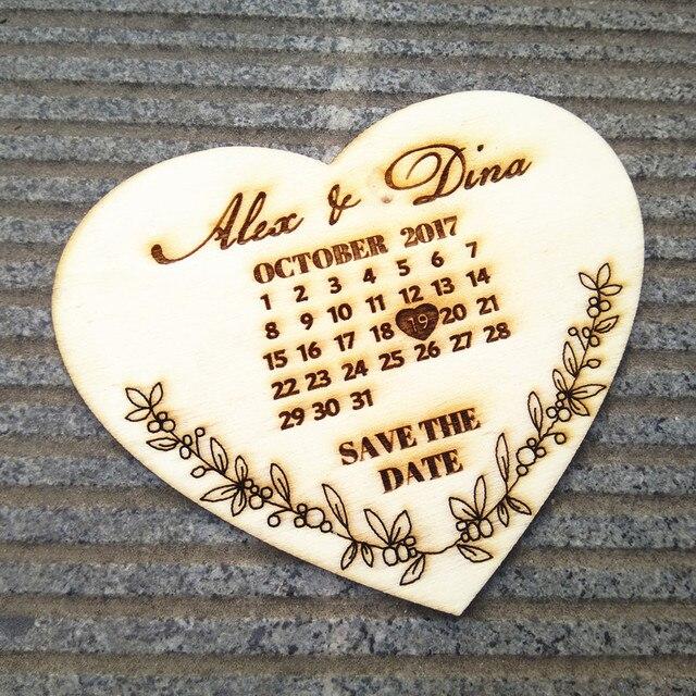 Personalisierte Holz Retten Das Datum Kalender Hochzeit Ankündigung Herz Kalender  Einladungen Braut Dusche Dekorationen Gefälligkeiten
