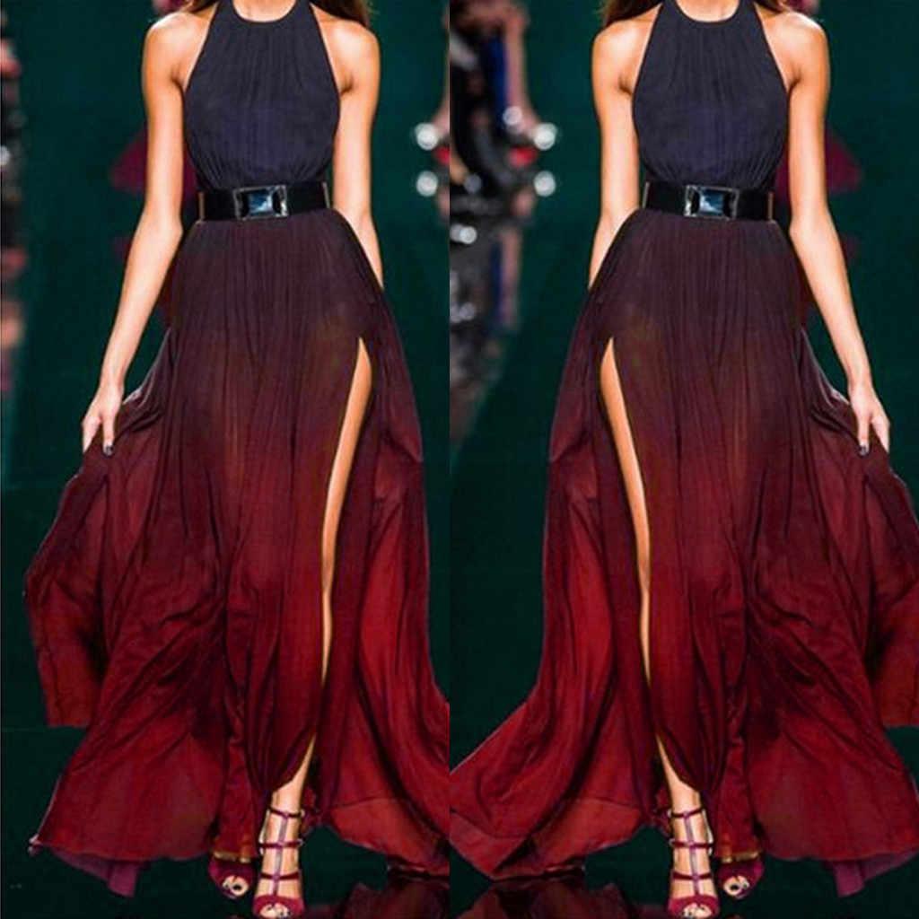 2019 элегантное платье женское сексуальное свадебное длинное платье на бретельках дамское модное платье градиентного цвета Длинное Платье Макси женское платье 0,4