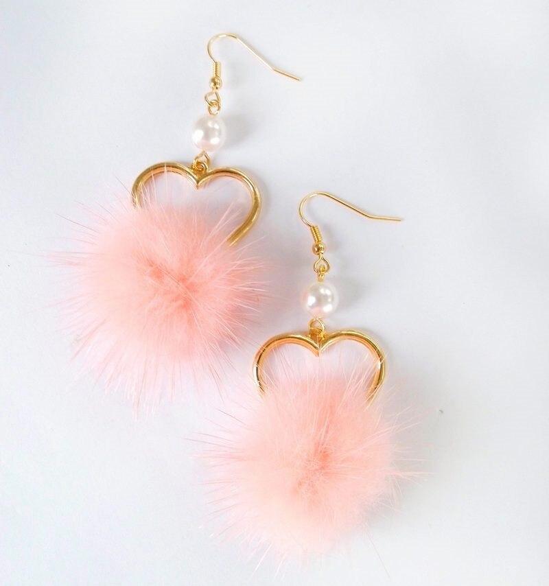 Lovely girl heart lovely hair bulb pearl earring no ear pierced ear women adorn article Popular fur ball Soft autu FF7889 in Drop Earrings from Jewelry Accessories